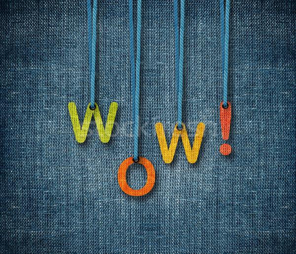 Wow woord touw abstract achtergrond Blauw Stockfoto © designsstock