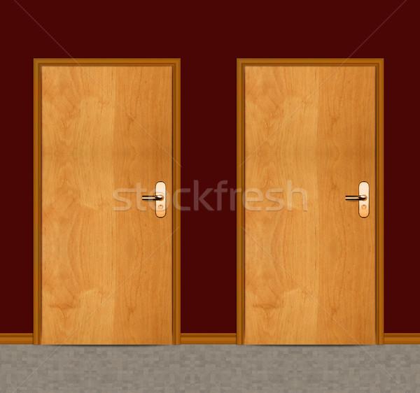 アパート 木製 ドア 2 ドア 家 ストックフォト © designsstock