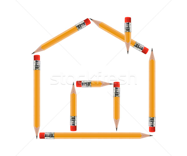 Ingatlan fogalmak kicsi ház citromsárga ceruza Stock fotó © designsstock