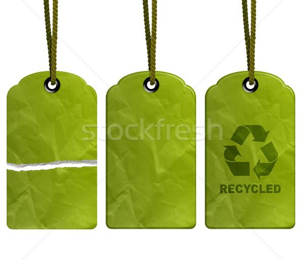 Eco recycleren tag geïsoleerd witte pad Stockfoto © designsstock
