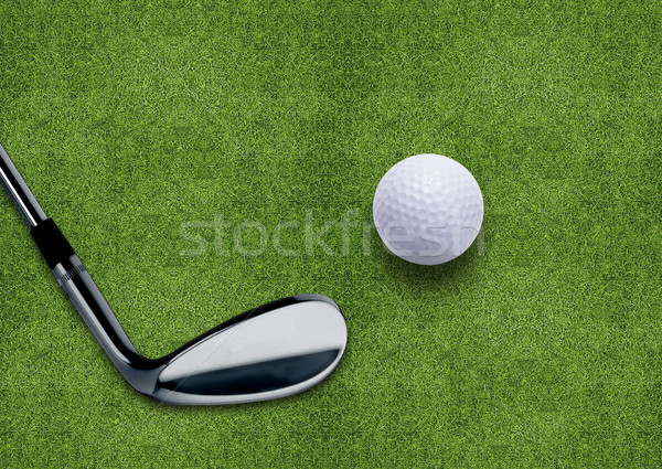 Golf ball and putter on green grass  Stock photo © designsstock