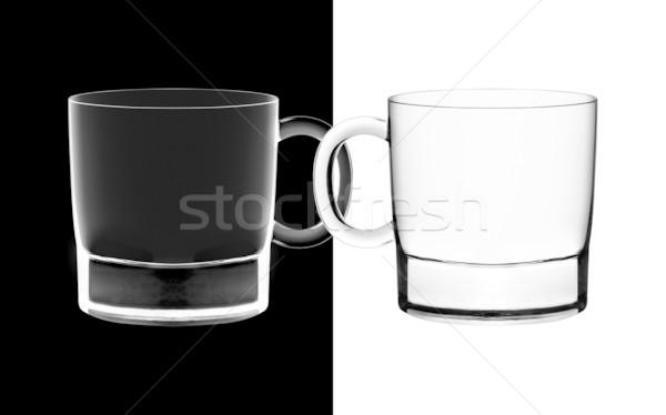 Verres rétroéclairage blanc noir contraste fond boire Photo stock © designsstock