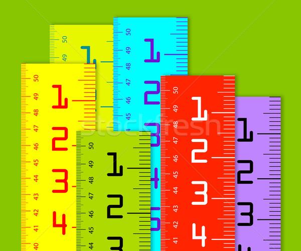 ミリメートル インチ カラフル 孤立した 白 木材 ストックフォト © designsstock