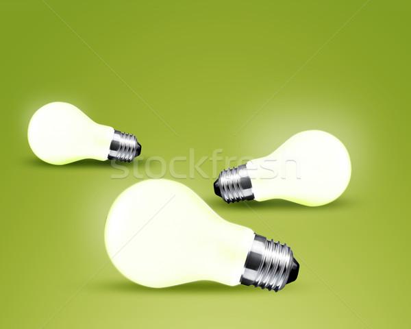 Tres bombilla idea verde negocios Foto stock © designsstock