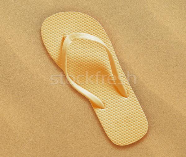 Tengerpart papucs pár tengerparti homok nyár hát Stock fotó © designsstock