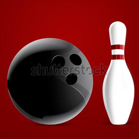 Bowling pin eğim top hızlandırmak oynamak Stok fotoğraf © designsstock