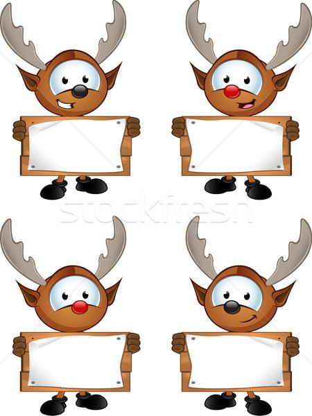 Rénszarvas karakter tart fa tábla aranyos boldog Stock fotó © DesignWolf