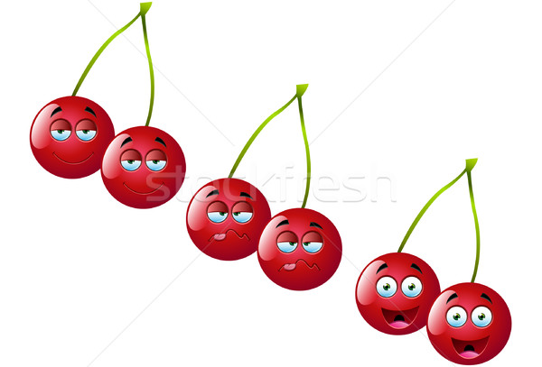 Cartoon cerises cute drôle fruits Photo stock © DesignWolf