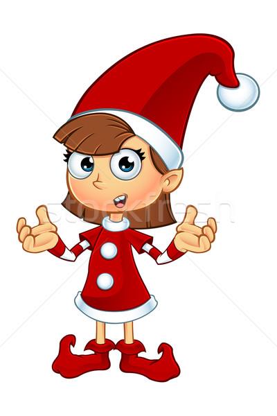 Lány manó karakter piros rajz illusztráció Stock fotó © DesignWolf