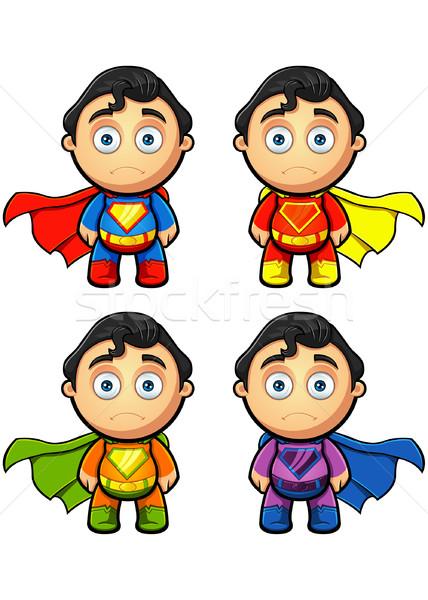 Süper adam karakter bakıyor üzücü farklı Stok fotoğraf © DesignWolf