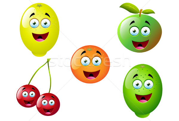 Rajz gyümölcs szett 12 aranyos jókedv Stock fotó © DesignWolf