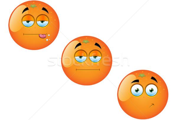 Karikatür turuncu meyve ayarlamak eğlence vektör Stok fotoğraf © DesignWolf