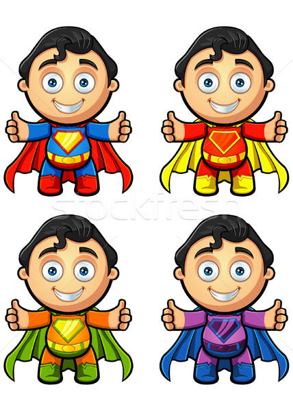 Szuper férfi karakter remek különböző színek Stock fotó © DesignWolf