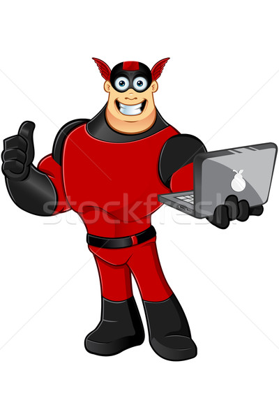 Rosso nero cartoon carattere muscolare Foto d'archivio © DesignWolf