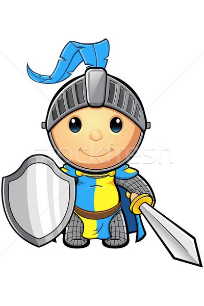 Bleu jaune chevalier personnage cute médiévale Photo stock © DesignWolf
