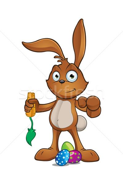 Brązowy Wielkanoc królik charakter cartoon ilustracja Zdjęcia stock © DesignWolf