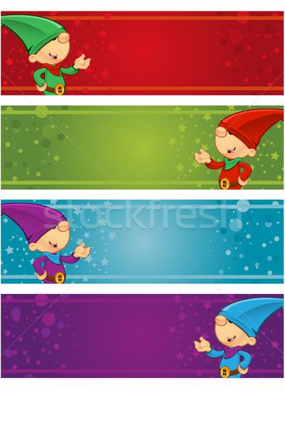 Navidad banners diferente sombrero vacaciones celebración Foto stock © DesignWolf