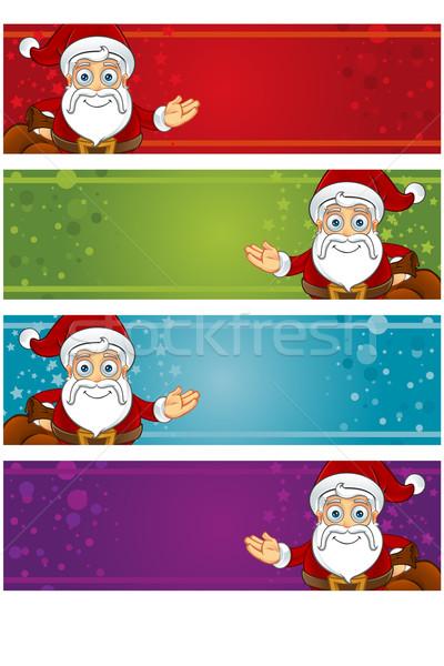 Noel afişler farklı şapka tatil kutlama Stok fotoğraf © DesignWolf