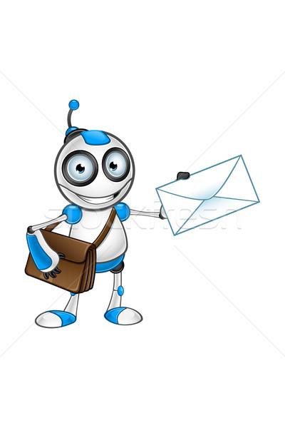 Beyaz mavi robot karakter sevimli bilgisayar Stok fotoğraf © DesignWolf