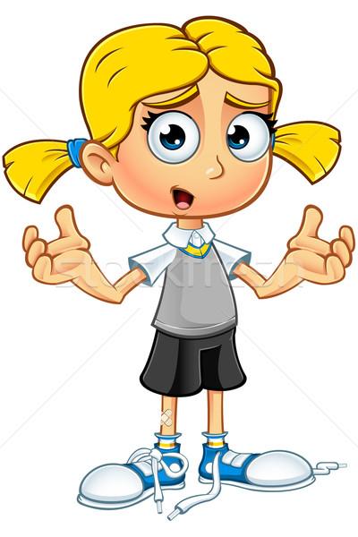 Szőke nő iskolás lány karakter illusztráció rajz szőke haj Stock fotó © DesignWolf