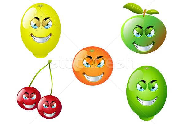 Rajz gyümölcs szett aranyos jókedv vektor Stock fotó © DesignWolf