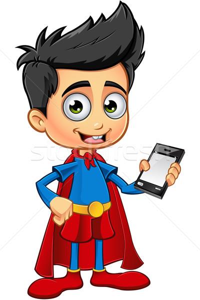 Szuper fiú karakter rajz illusztráció aranyos Stock fotó © DesignWolf