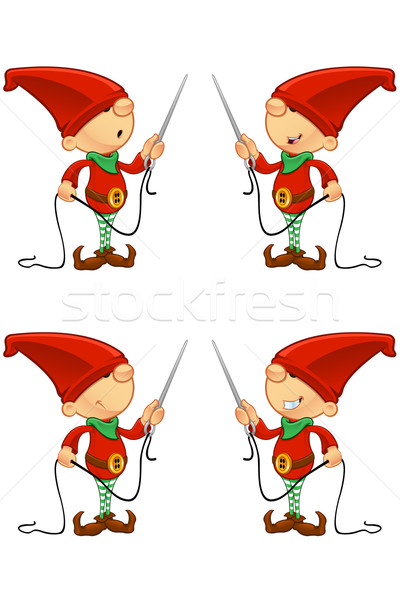 Rouge elf cute cartoon différent expressions faciales Photo stock © DesignWolf
