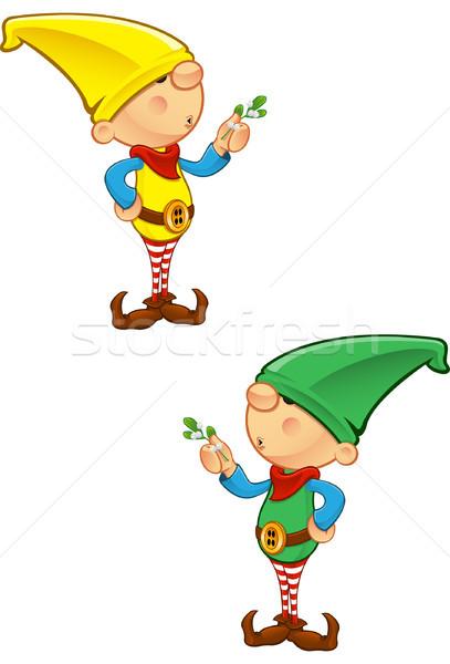 Elf Mascot - Holding Mistletoe Stock photo © DesignWolf
