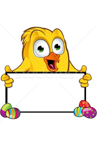 Húsvét csirke karakter rajz illusztráció tojás Stock fotó © DesignWolf