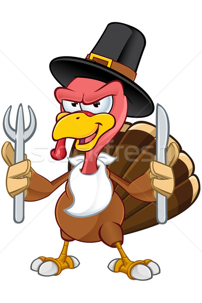 Turkey Mascot - Holding Knife & Fork Stock photo © DesignWolf