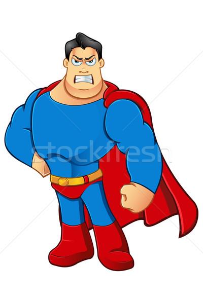 Rajz szuperhős karakter rajzfilmfigura illusztráció kék Stock fotó © DesignWolf