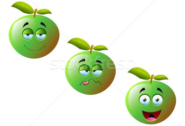 Rajz almák szett aranyos vicces gyümölcs Stock fotó © DesignWolf
