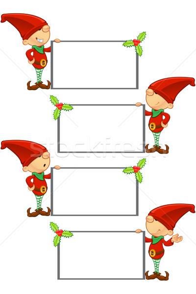 Rojo elfo cute Cartoon diferente expresiones faciales Foto stock © DesignWolf