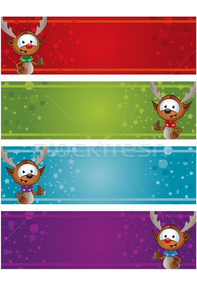 Karácsony bannerek rénszarvas különböző gemkapocs piros Stock fotó © DesignWolf