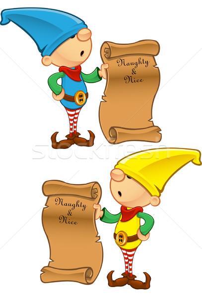 Elf mascotte méchant Nice liste Photo stock © DesignWolf
