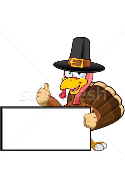 Turkey Mascot - Blank Sign Stock photo © DesignWolf