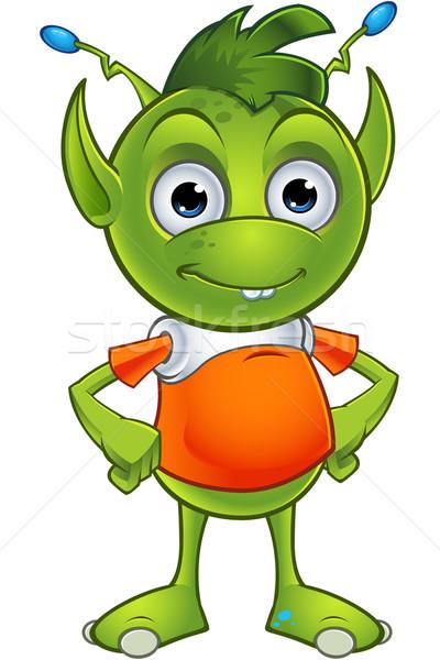 Straniero cartoon illustrazione cute piccolo verde Foto d'archivio © DesignWolf