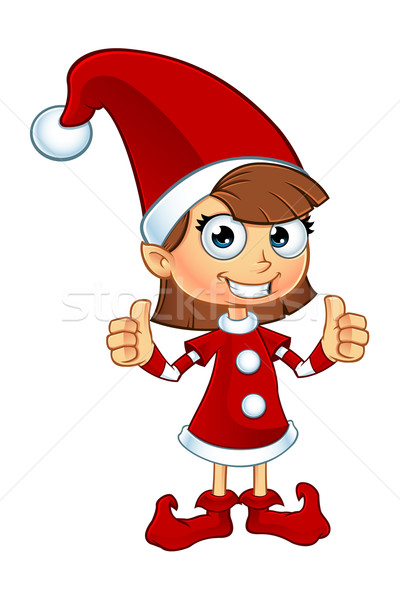 Kız cin kırmızı karakter karikatür örnek Stok fotoğraf © DesignWolf