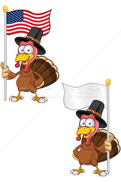 Turkey Mascot - Holding Flag Stock photo © DesignWolf