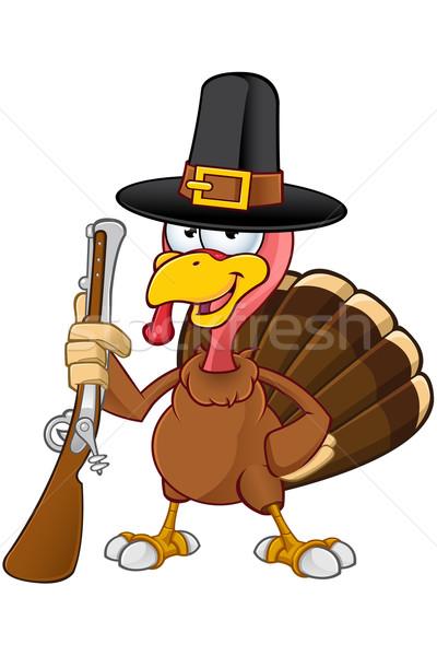 Turkey Mascot - Holding Gun Stock photo © DesignWolf