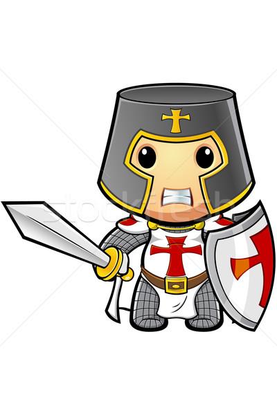 Cartoon ridder illustratie vlag christelijke middeleeuwse Stockfoto © DesignWolf
