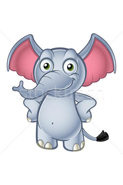 Elefánt rajzfilmfigura rajz illusztráció aranyos karakter Stock fotó © DesignWolf