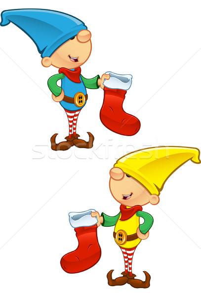 Elf mascotte stockage hiver garçon Photo stock © DesignWolf