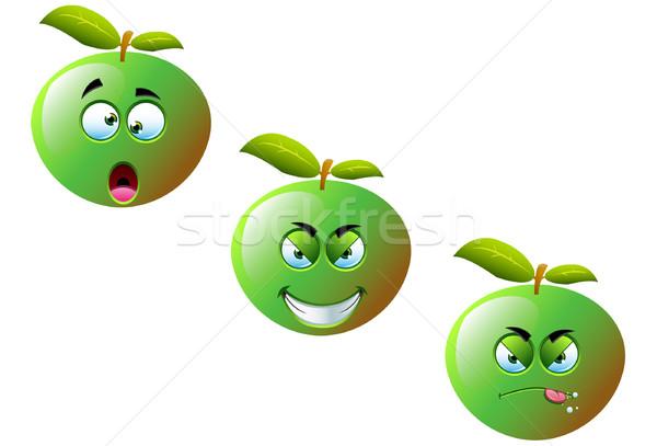 Karikatür elma ayarlamak sevimli komik meyve Stok fotoğraf © DesignWolf