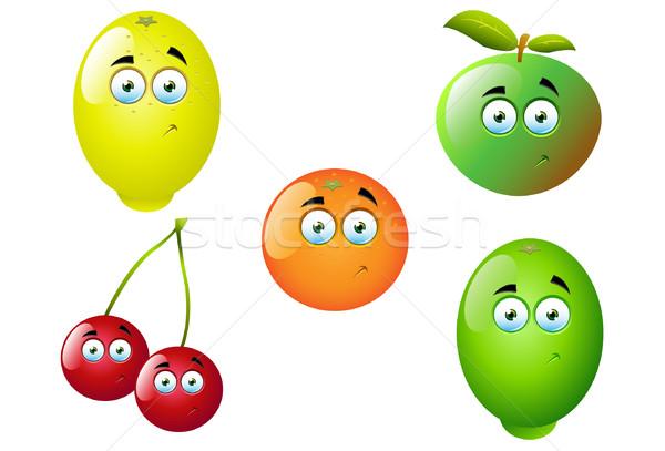 Cartoon fruits cute amusement vecteur Photo stock © DesignWolf