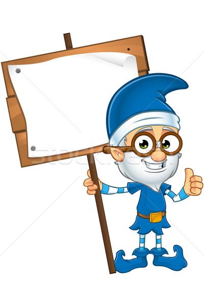 Eski cin mavi karakter karikatür örnek Stok fotoğraf © DesignWolf