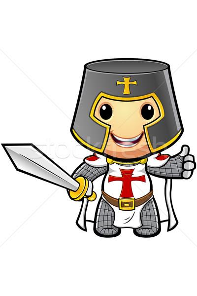 Karikatür şövalye örnek bayrak Hristiyan ortaçağ Stok fotoğraf © DesignWolf