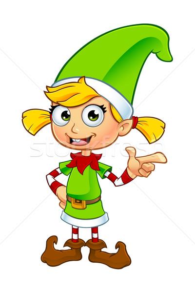 Kız cin karakter yeşil karikatür örnek Stok fotoğraf © DesignWolf