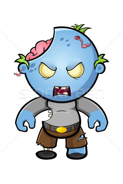 Bleu cartoon zombie personnage illustration cute Photo stock © DesignWolf