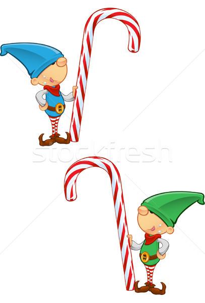 Elf mascotte bonbons canne deux Photo stock © DesignWolf